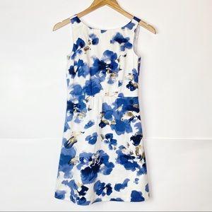 EUC Ann Taylor Blue Floral A line Cotton Dress